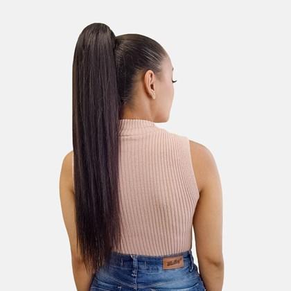 Aplique Rabo Cabelo Natural Liso Castanho Escuro 400, 60cm