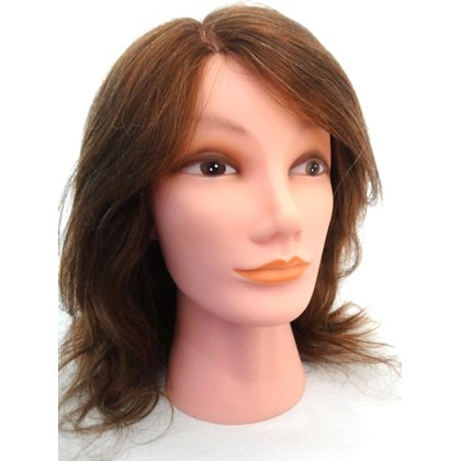 """Cabeça de Boneca para Treino de 12"""" Fios de 30,4 cm Cabelo Natural Castanho Claro - Face Feminina"""