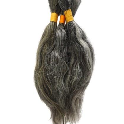 Cabelo Humano Bruto Grisalho, para Descolorir ou Tingir, Jeitoso, Fios de 20 a 35cm no pacote de 2kg (Tipo 3)