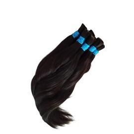 Cabelo Humano LISO Castanho - 65cm Fita Azul