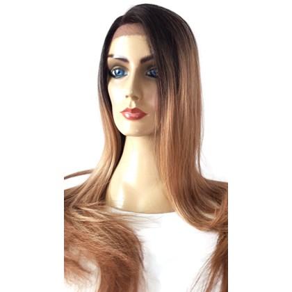 Front Lace Modelo Realeza Novo, Peruca da Linha True-Me Super Lisa, Cor TAT4/613F/R27