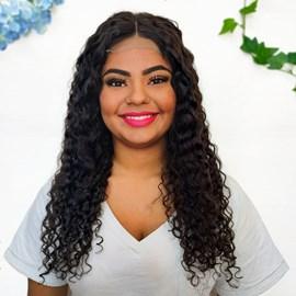 Lace Front de Cabelo Humano Modelo Meadow, Longa com 50cm com Fios Cacheados, Cor 1B