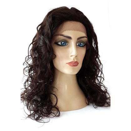 Lace Front e Topo, Peruca Modelo Bianca, Cabelo Human Hair da Linha True-Me, Cor Natural Brown