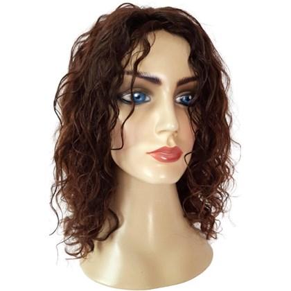 Peruca de Cabelo Humano, Modelo Laura, Corte Médio, Cor Marrom Escuro