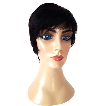 Peruca de Cabelo Humano Modelo Sassy Lady, Curta com Fios Lisos, Cor 1B
